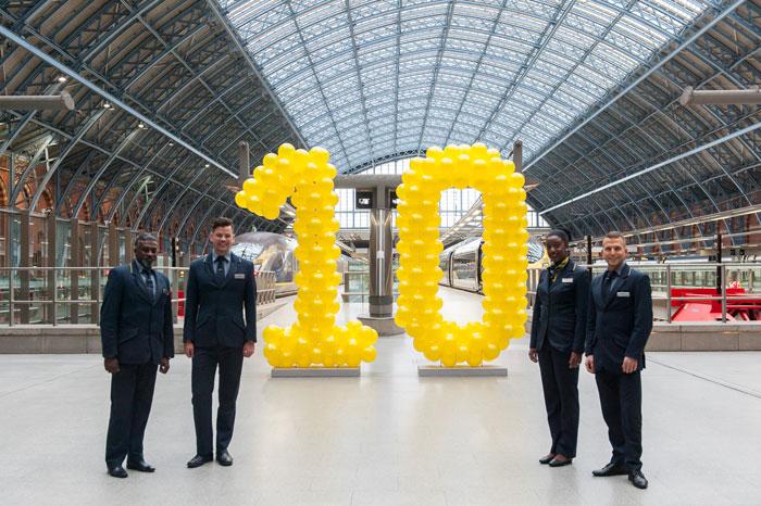 Eurostar празнува 10 години от присъствието си на жп гара St Pancras в Лондон